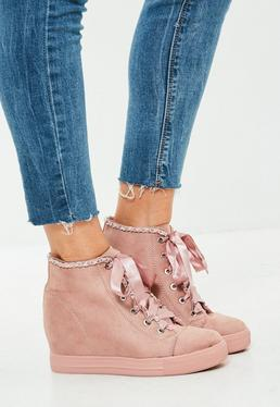 Pink Chain Trim Sneakers Boots
