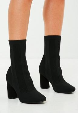 Black Knitted Sock Ankle Boots