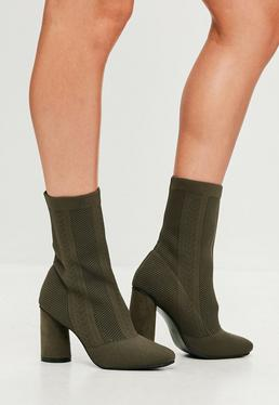 Khaki Knitted Sock Ankle Boots