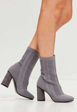 Grey Knitted Sock Ankle Boots