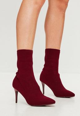 Burgundy Ribbed Pointy Ankle Boots