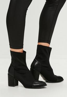Black Neoprene Sock Ankle Boots
