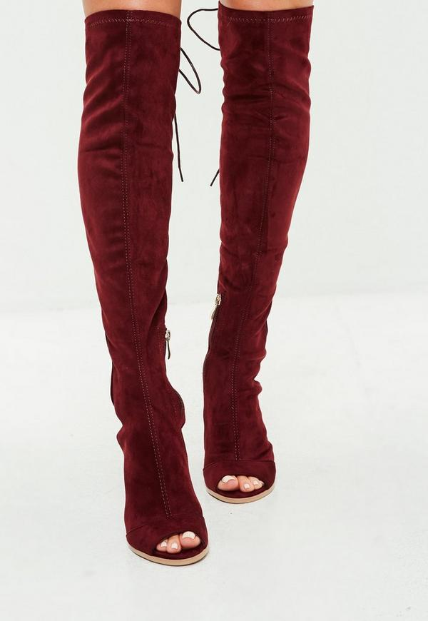burgundy lace up thigh high boots missguided ireland