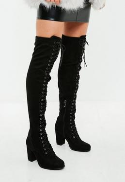 Black Lace Up Over The Knee Boots