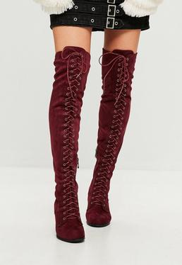 Red Lace Up Faux Suede Over The Knee Boots