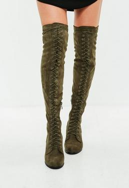 Khaki Faux Suede Over The Knee Boots
