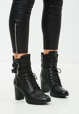 Black Double Buckle Ankle Boot