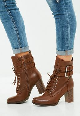 Brown Double Buckle Ankle Boots