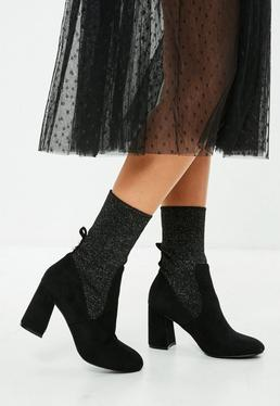 Black Lurex Sock Ankle Boot