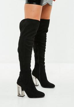 Black Inverted Clear Heel High Leg Boots