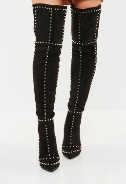 Black Stud Thigh High Boots