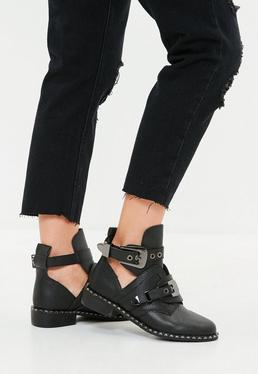Black Buckle Cut Out Ankle Boots