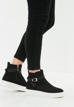 Black Crepe Sole Sneakers