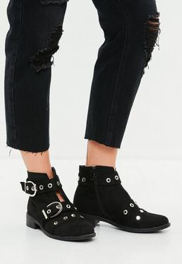 Black Buckle Stud Ankle Boots