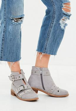 Gray Buckle and Stud Ankle Boots