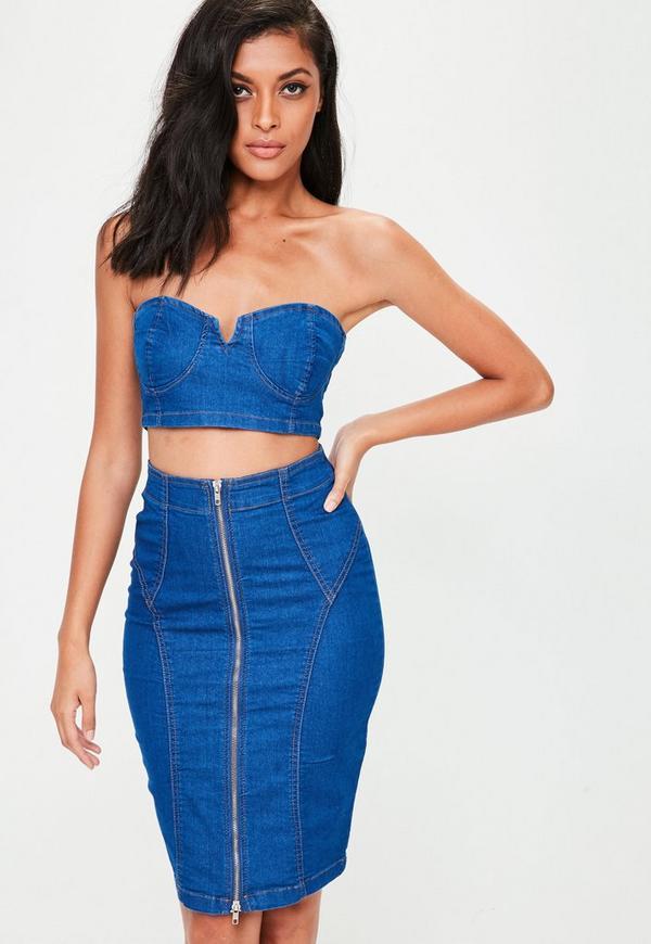 Navy Denim Front Zip Midi Skirt