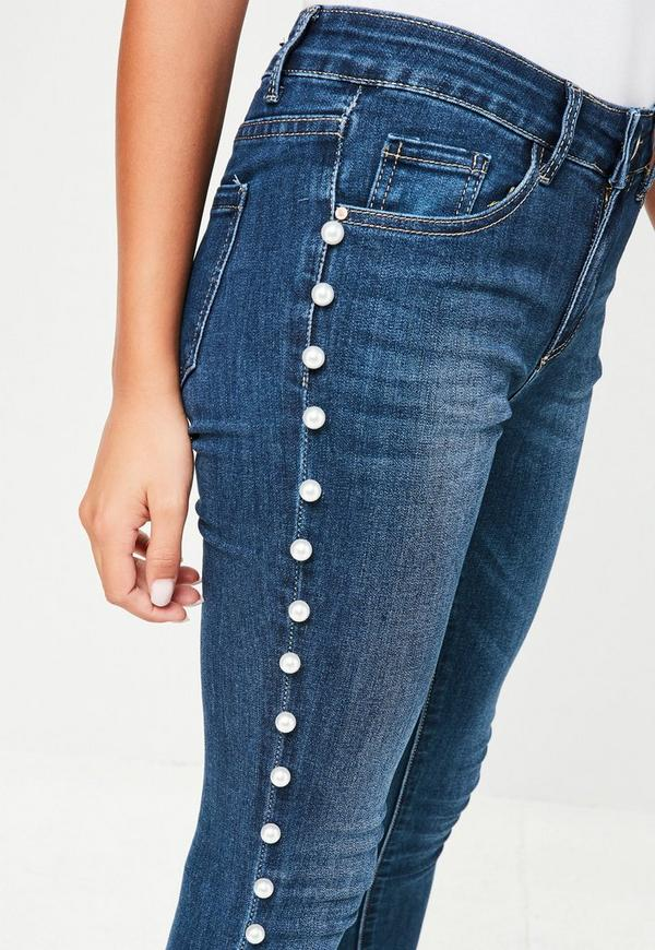 Navy Pearl Embellished Jeans | Missguided
