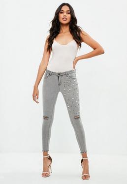 Gray Embellished Skinny Jeans