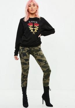 Khaki Camo Studded Jeans