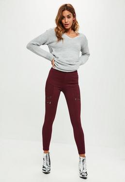 Burgundowe jeansowe leginsy
