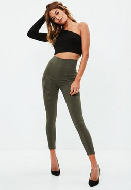 Khaki Ribbed Leggings