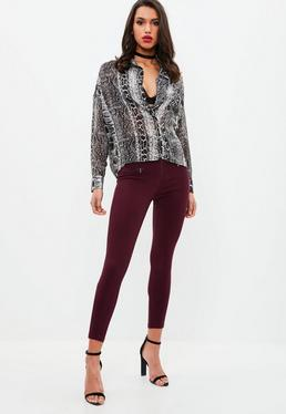 Burgundy Zip Front Jegging