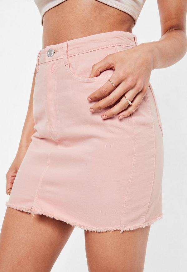 newest 78bec 526bf Pink Denim Mini Frayed Hem Skirt