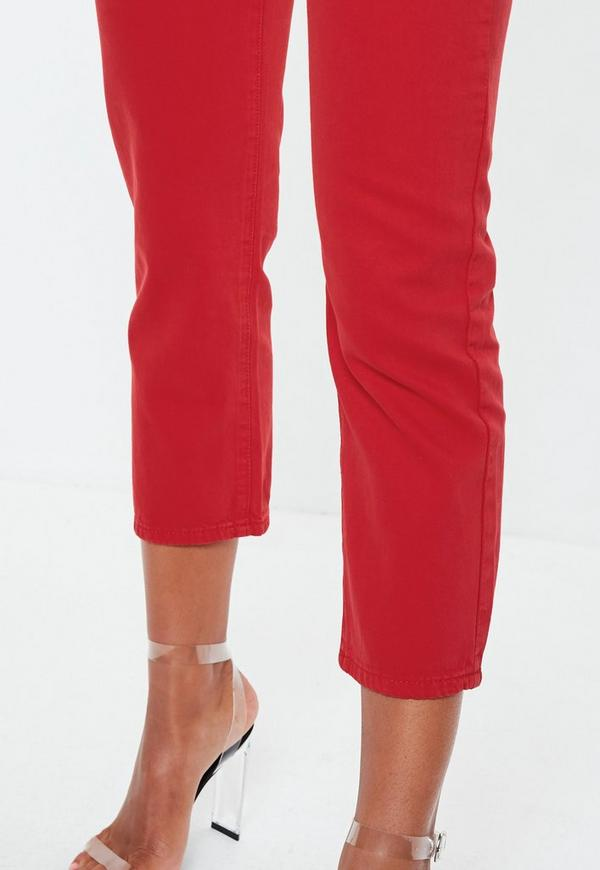 Red Denim Cropped Kick Flare Jeans Missguided