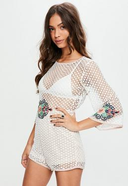 White Dotty Mesh Floral Detail Playsuit