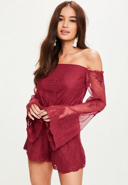 Burgundy Bardot Lace Sleeve Playsuit