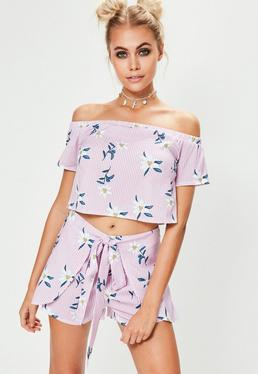 Streifen Blumenmuster Shorts in Rosa