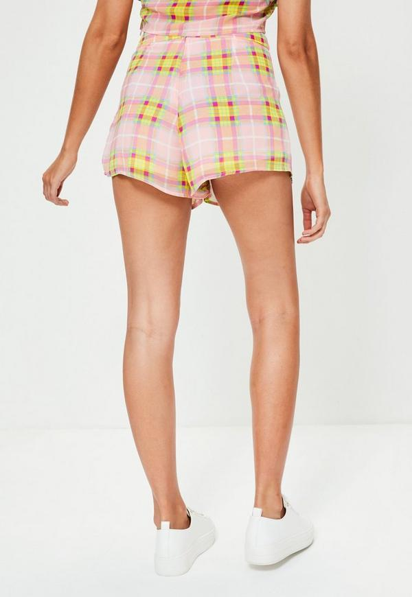 Pink Tartan Pleat Detail Shorts