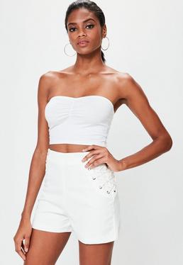 White Lace Up Shorts