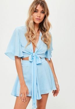 Blue Frill Co Ord Shorts
