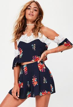 Navy Floral Floaty Shorts