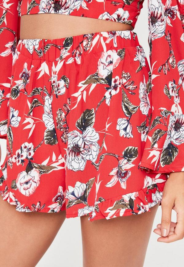 Red Floral Print Co-Ord Shorts   Missguided