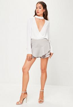 Grey Frill Shorts