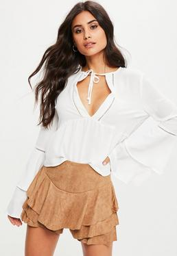 Camel Faux Suede Frill High Waisted Skort