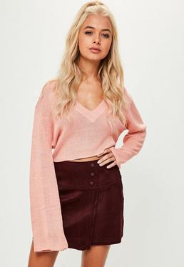 Burgundy Button Waist Suedette Shorts