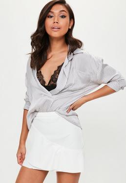 White Asymmetric Frill Front Skirt