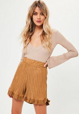 Camel Pleated Faux Suede Frill Shorts