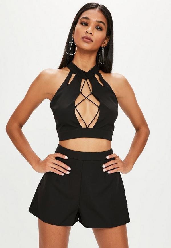 c40eb06823832 Black Halter Neck Crop Top and Shorts Co-ord Set