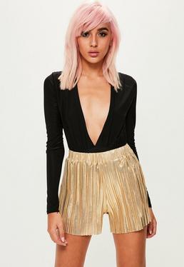 Gold Metallic Pleated Shorts