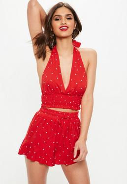 Red High Waisted Polka Dot Shorts