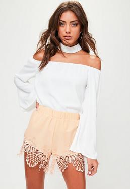 Pink Lace Hem Shorts