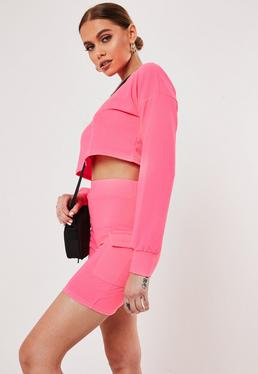 f85e1b83948 Neon Pink Crop Top And Cargo Short Co ord Set