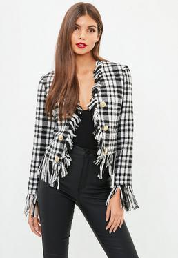 Black Frayed Checked Jacket