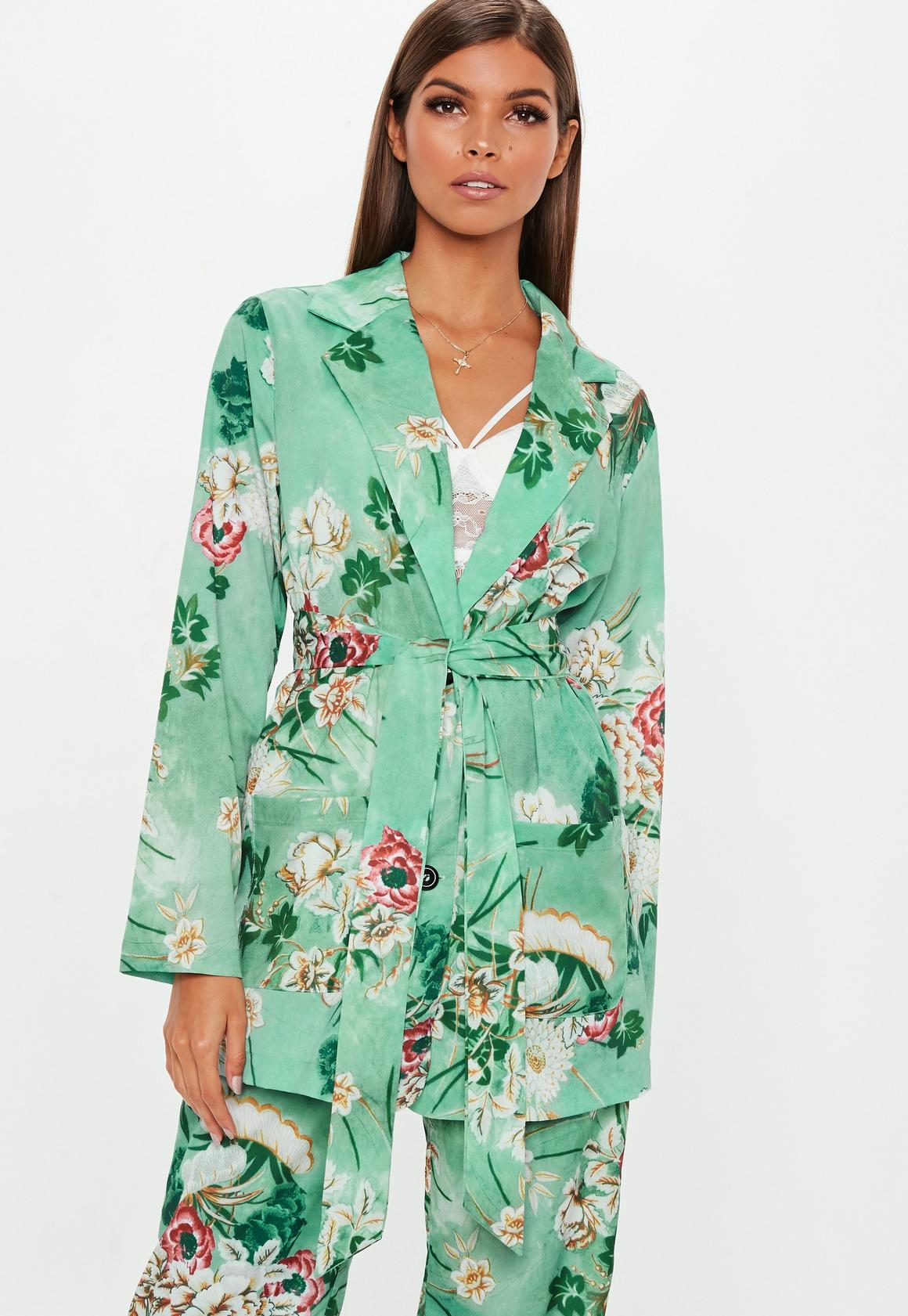 Green Floral Collared Tie Jacket | Missguided