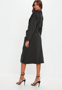 Black Pinstripe Longline Jacket