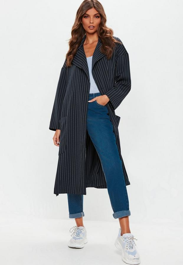Product photo of Navy pinstripe longline jacket blue